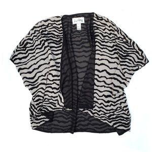 Joseph Ribkoff Tan Black Zebra Short Kimono